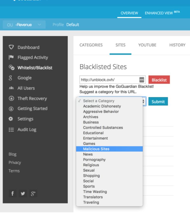 Blacklisted site screenshot