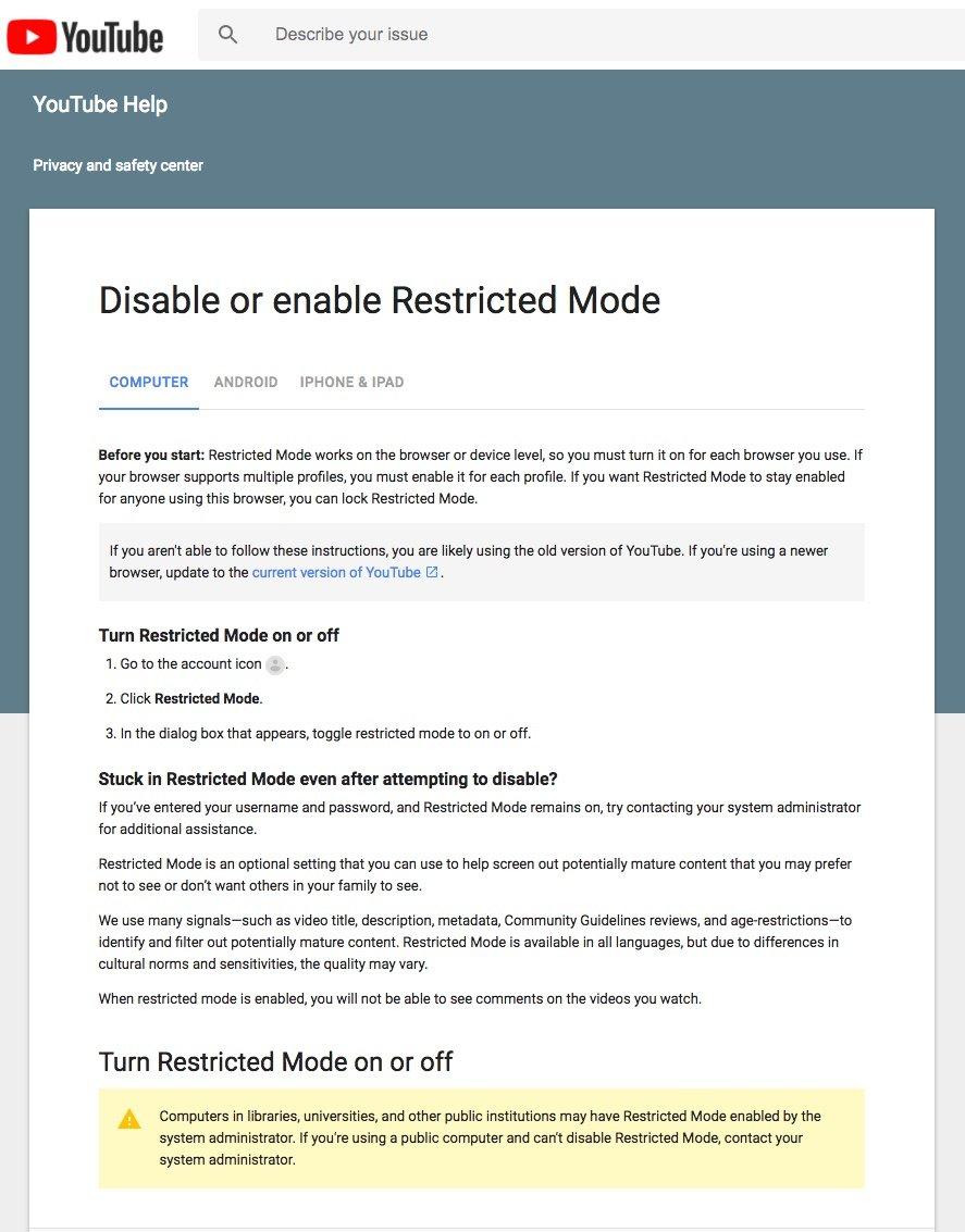GAC restricted mode