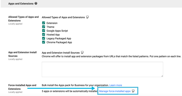 Force install extensions GAFE