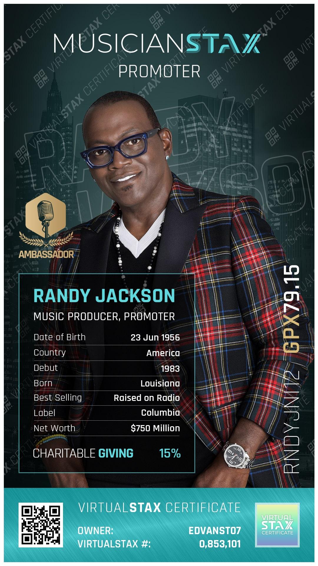MX Trade Card Randy Jackson