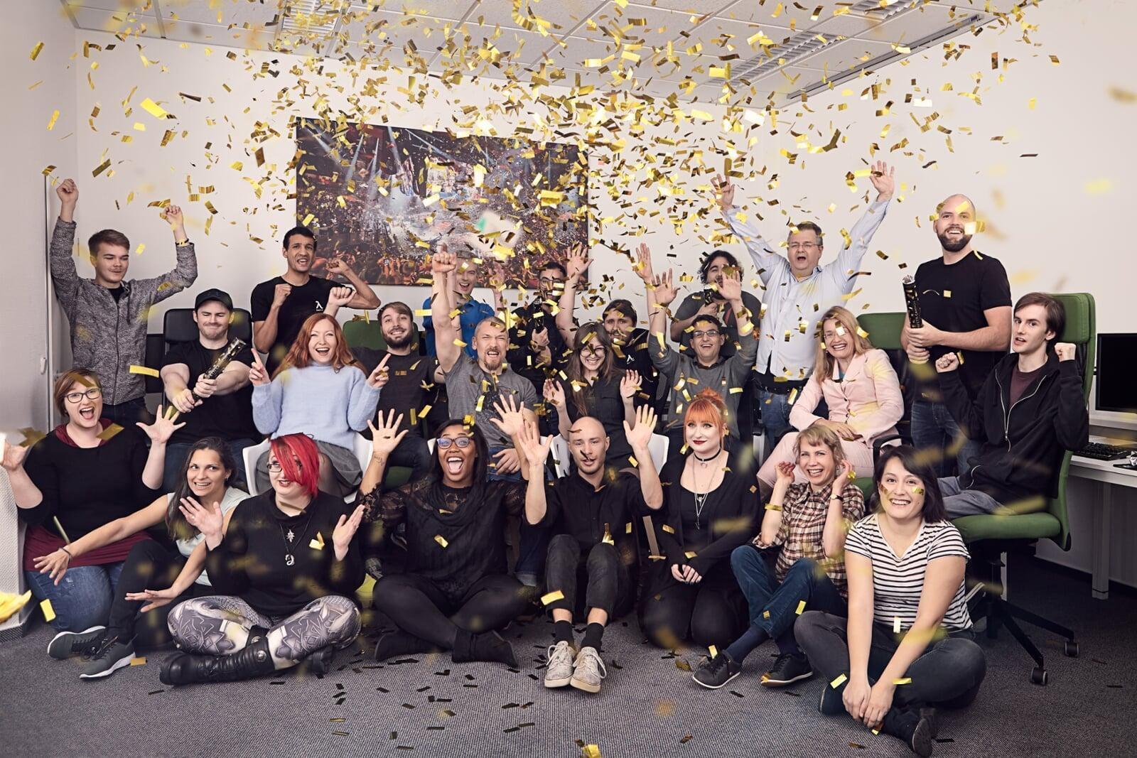 Bayes Esports team celebrating with confetti