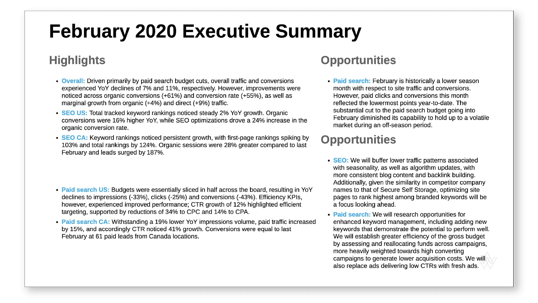 Executive Summary Client Reporting Example from NinjaCat