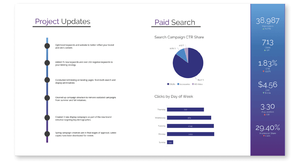 Paid Search Client Report Example from NinjaCat