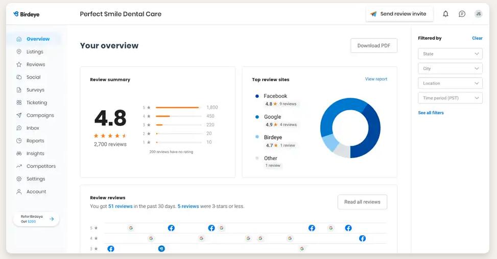 Birdeye Customer Review platform and ninjaCat Reports