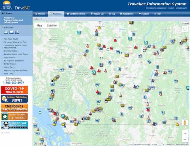 DriveBC Highway Closures & Conditions