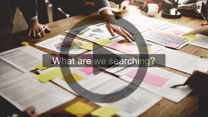 """Webinar slide reading """"What are we searching?"""""""