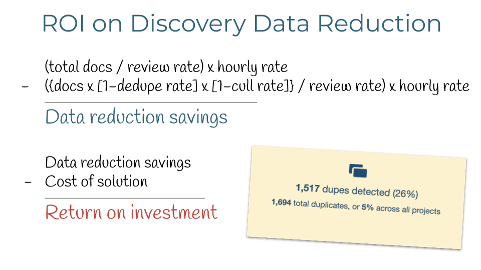 ROI calculations for data reduction in eDiscovery