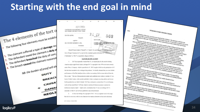 """Webinar slide showing court documents, under the heading """"Starting with the end goal in mind"""""""