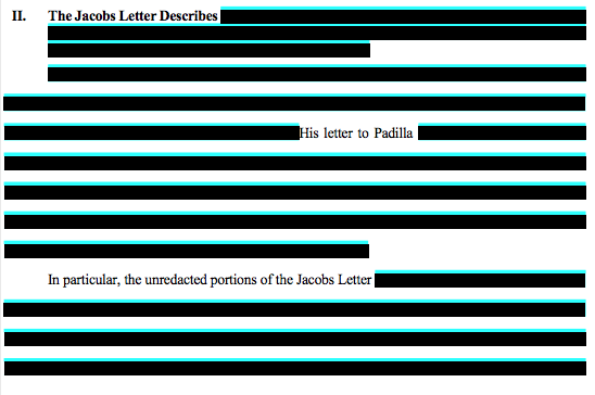 A heavily redacted section from Waymo's filing