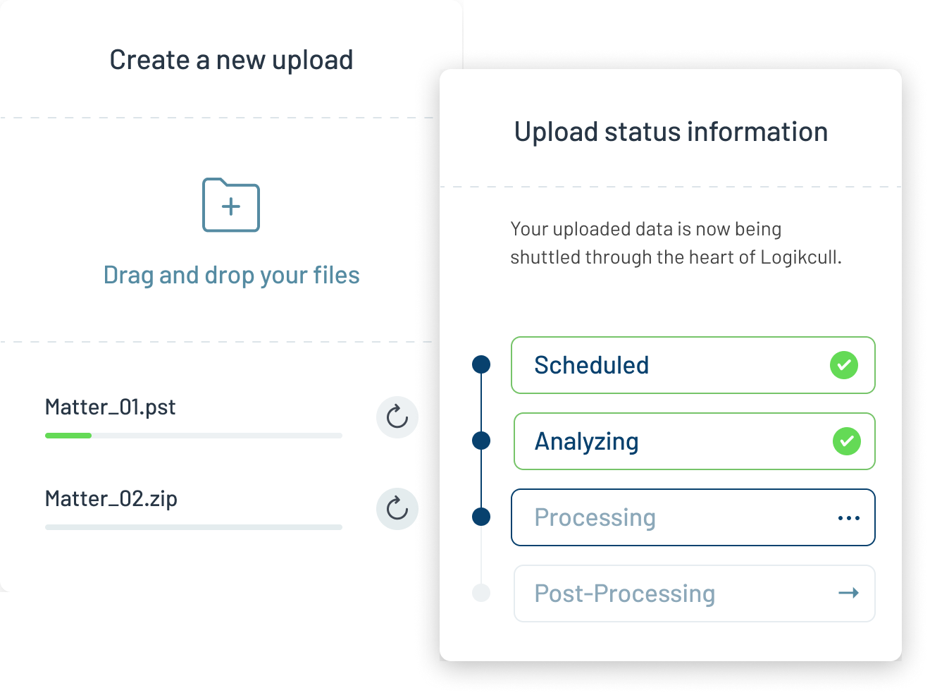 Create a new upload just by dragging and dropping your files, then let Logikcull handle the processing and organization, so you can get into your data quick