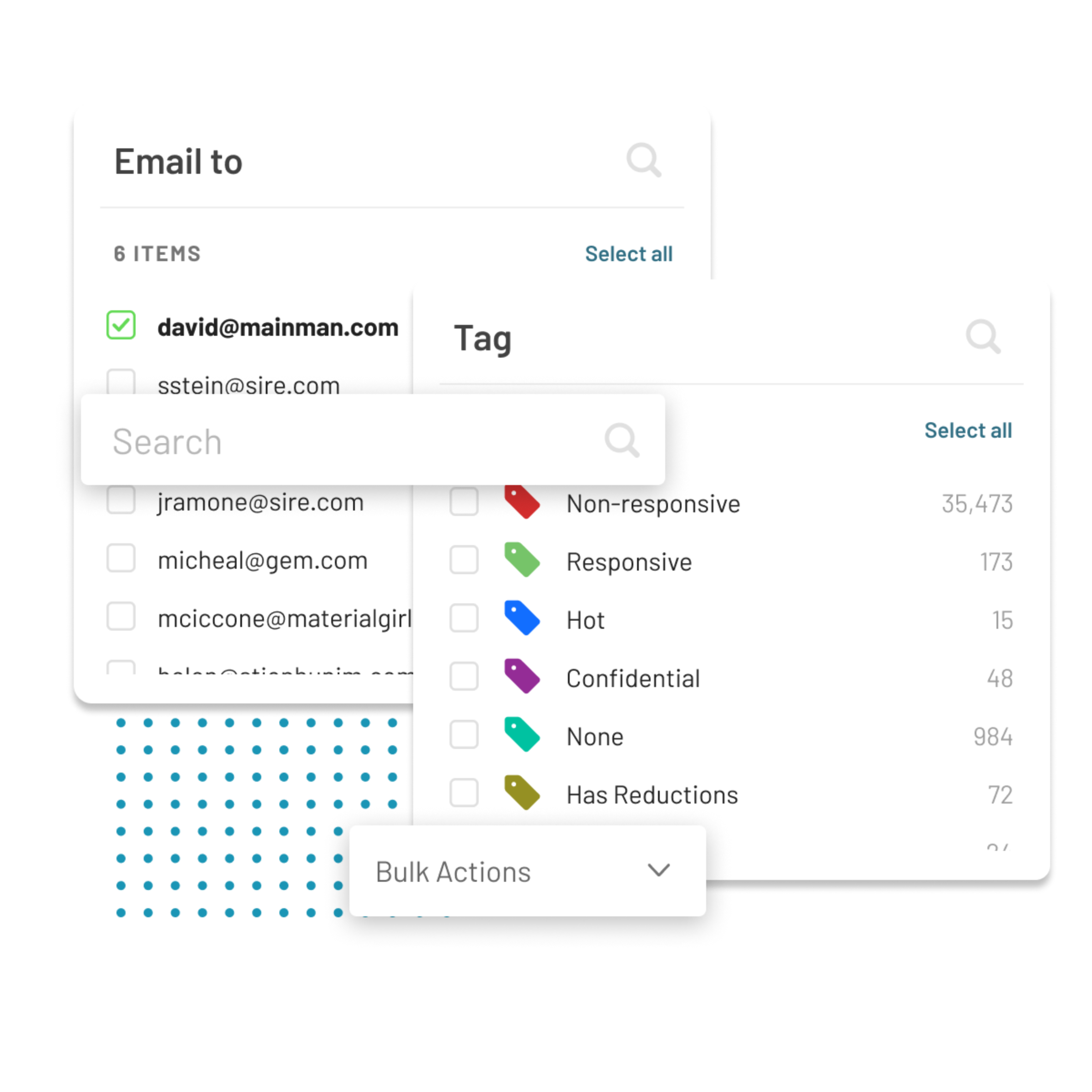 Logikcull's Culling Intelligence lets you drill into your data with ease. Filter by emails, tags, date, doc type, keywords, and more.
