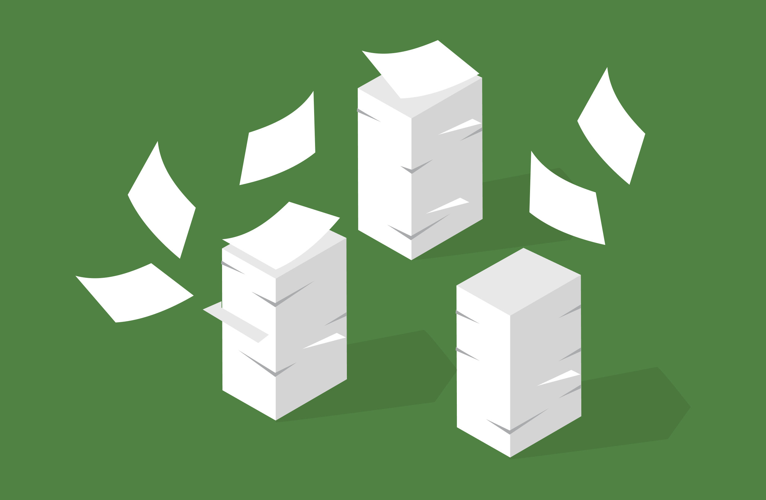 A pile of documents, stacked to overflowing