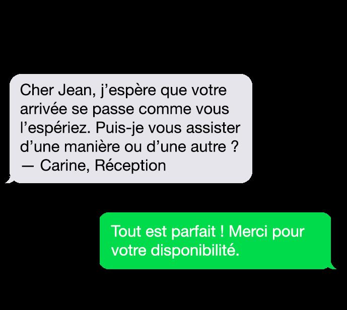 sms conversation LoungeUp satisfaction client