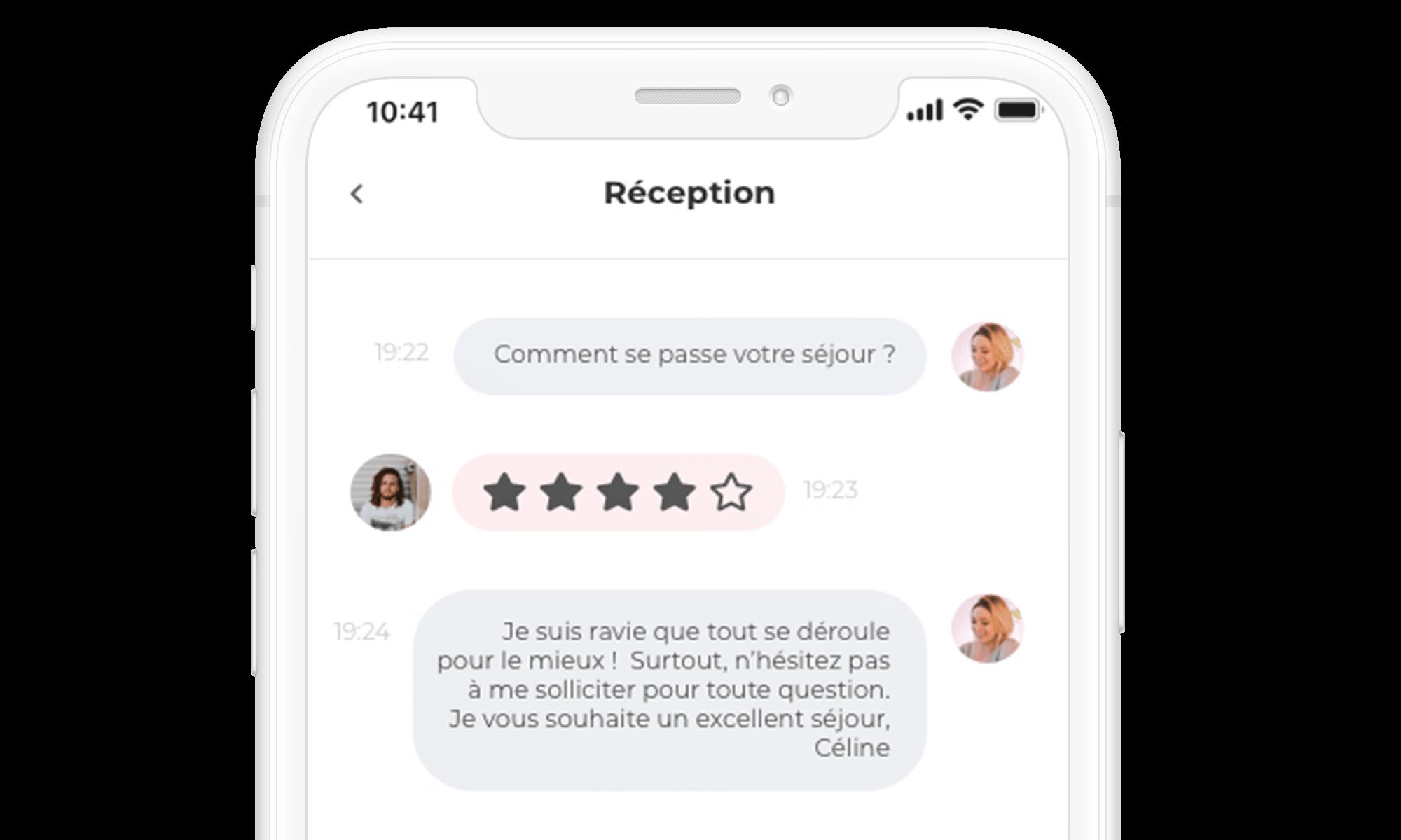 app loungeup portail client messagerie chat enquête de satisfaction