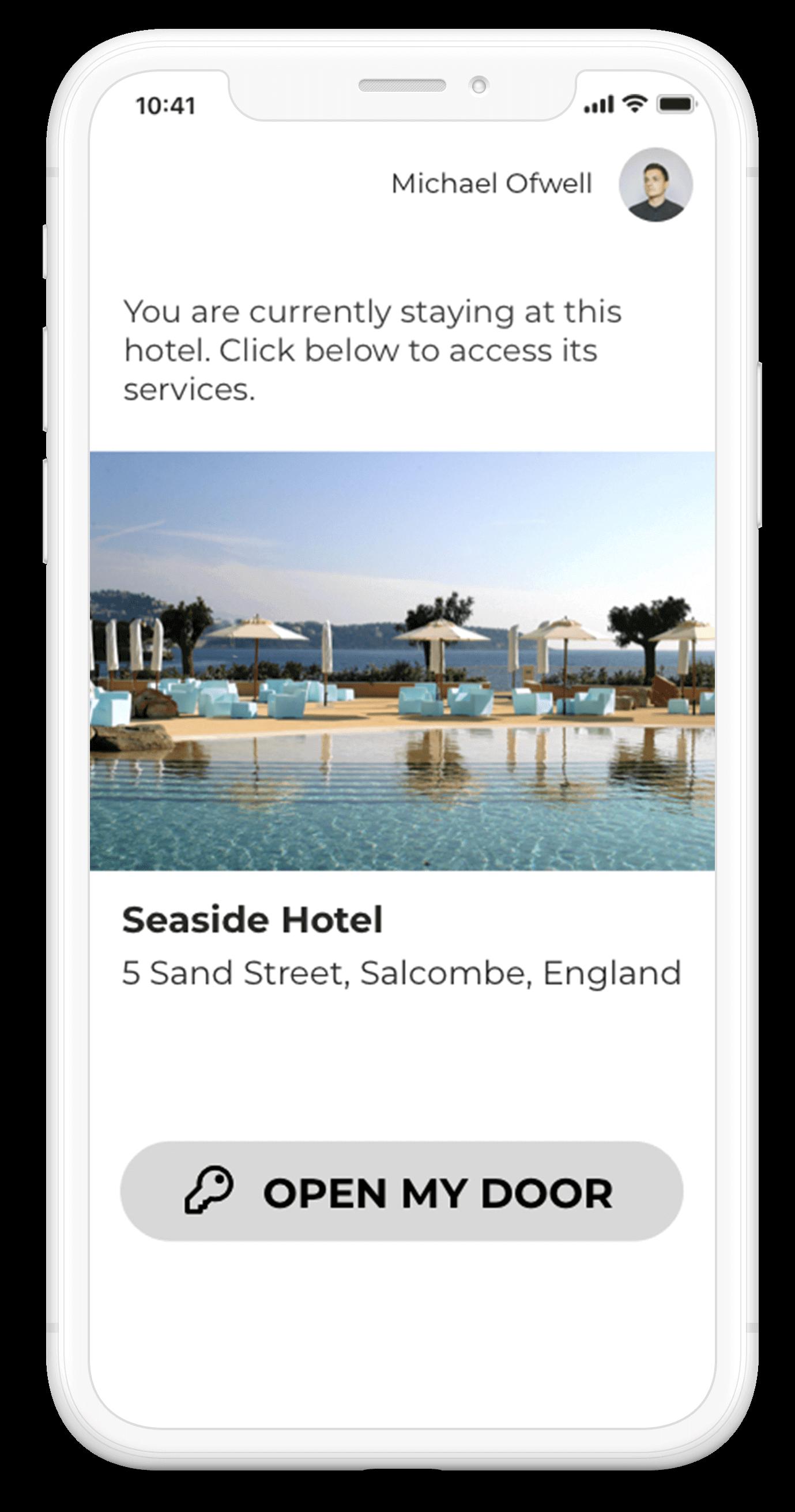 mobile key clé mobile loungeup ouverture porte hôtel