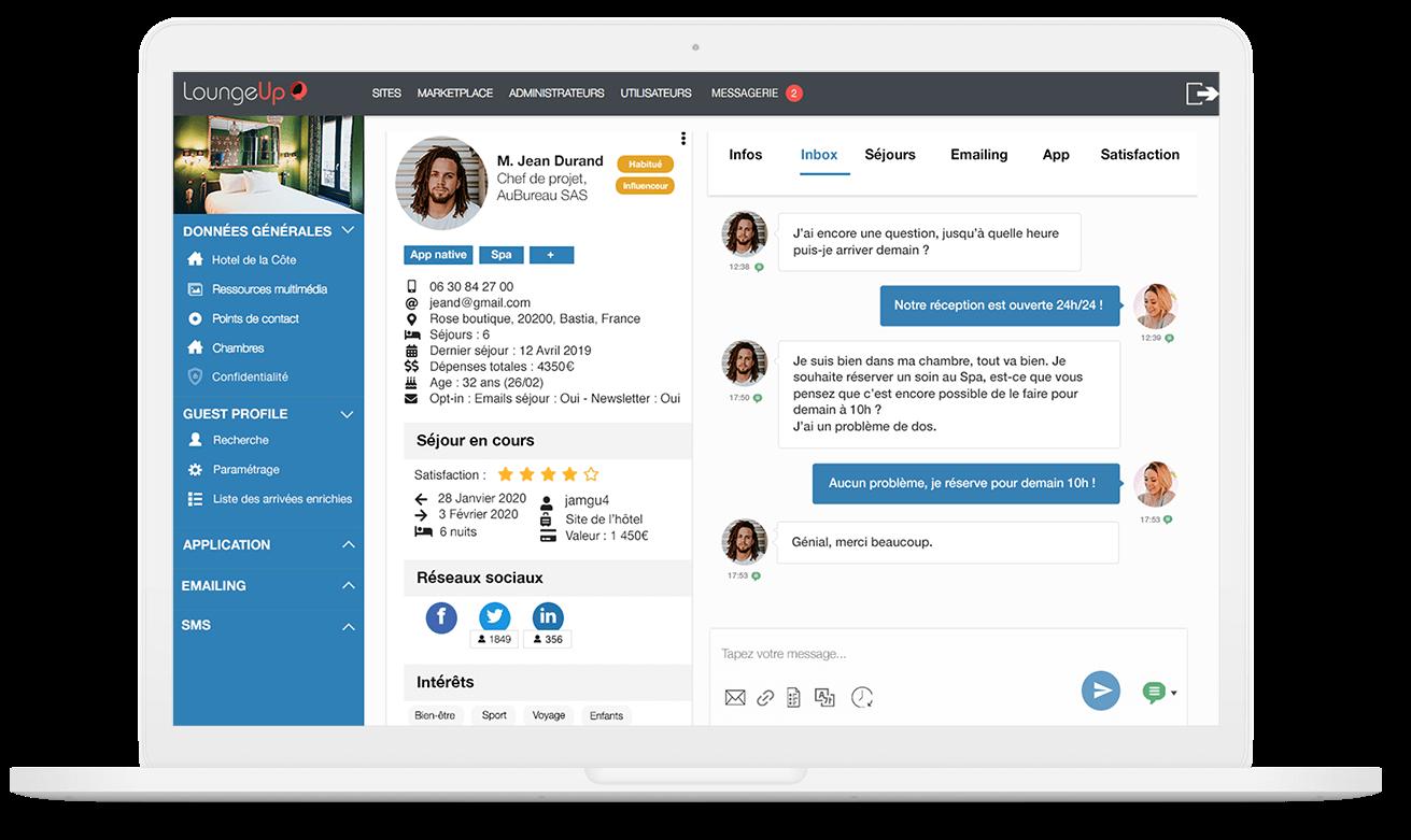 guest profile crm hotel loungeup cardex recherches base de données clients segmentation