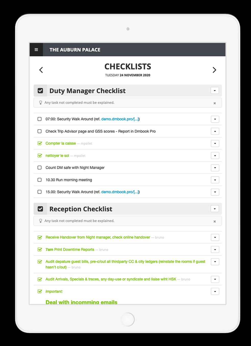 checklist duty manager cahier de consigne Dmbook LoungeUp hotel