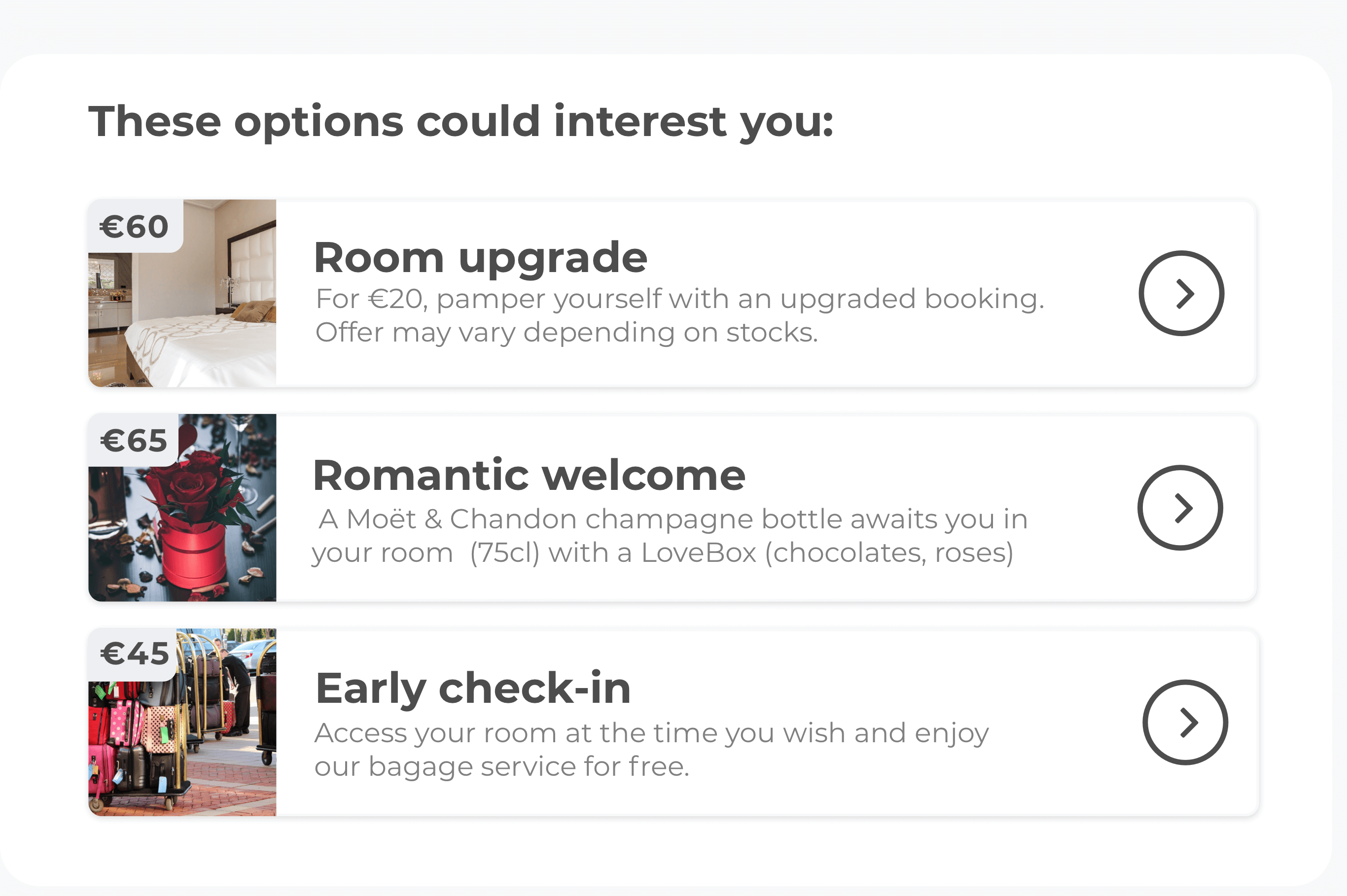 formulaire pré check-in upsell options LoungeUp