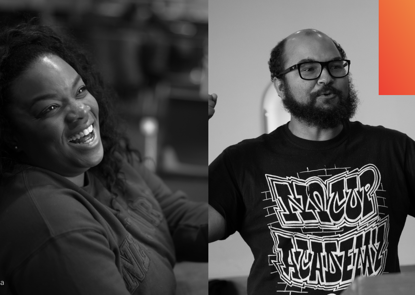 A woman laughing and a man speaking