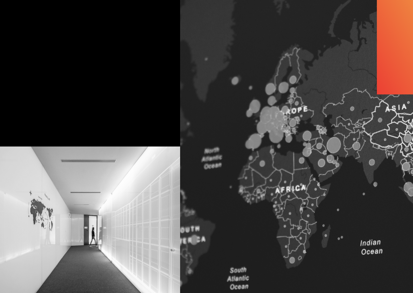 An empty hallway and a map of the globe with hotspots
