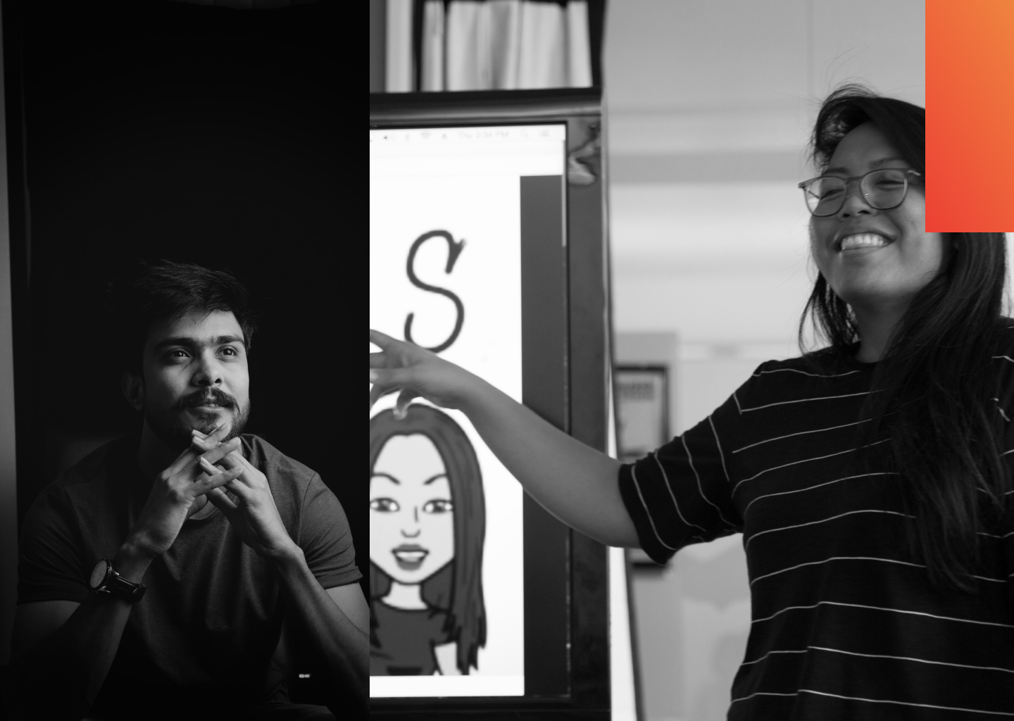 A man attentively listens in one image while a woman teaches from a whiteboard in the next image.