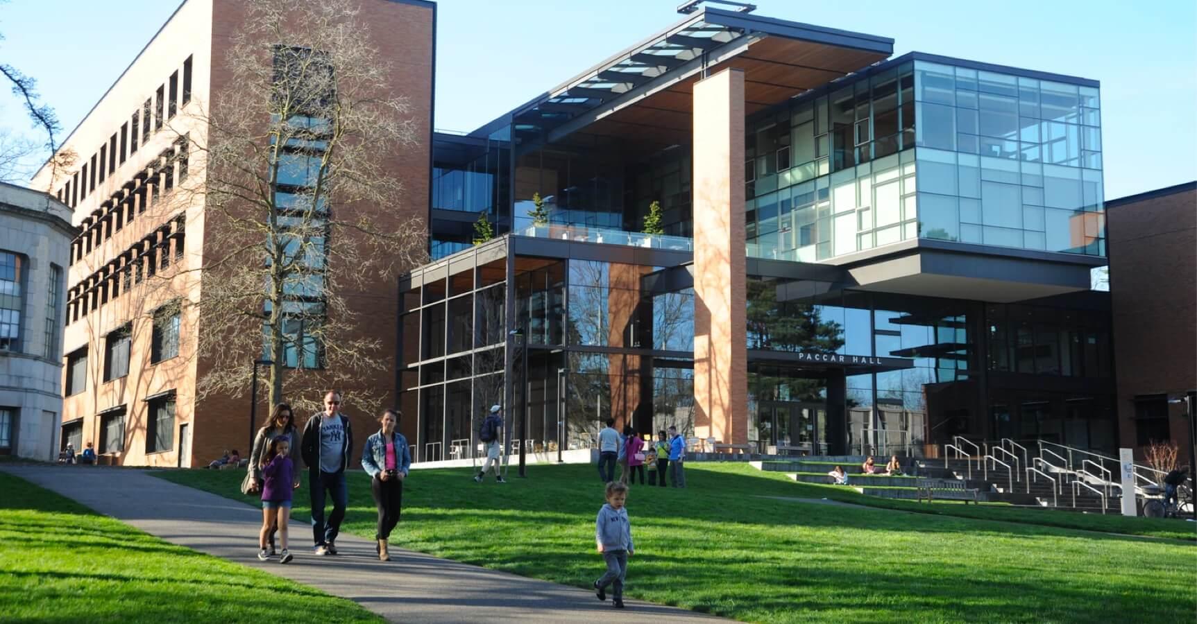 Universität von außen aufgenommen mit Menschen auf Grünflächen.