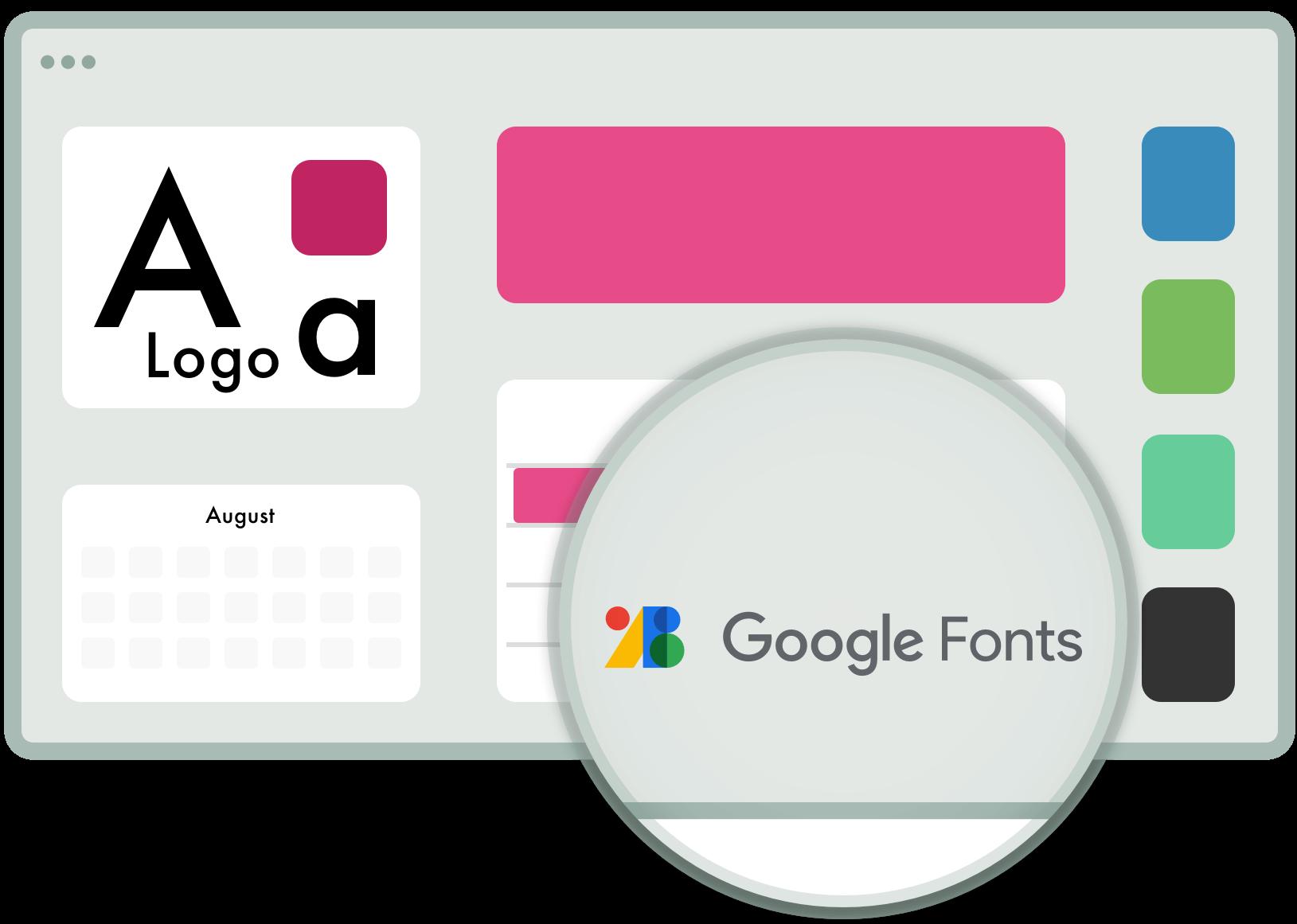 Farben, Fonts und Logos. Alles individuell anpasspar.