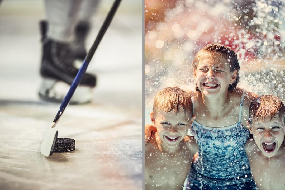 Eishockey und Schwimmer in einem Bild.