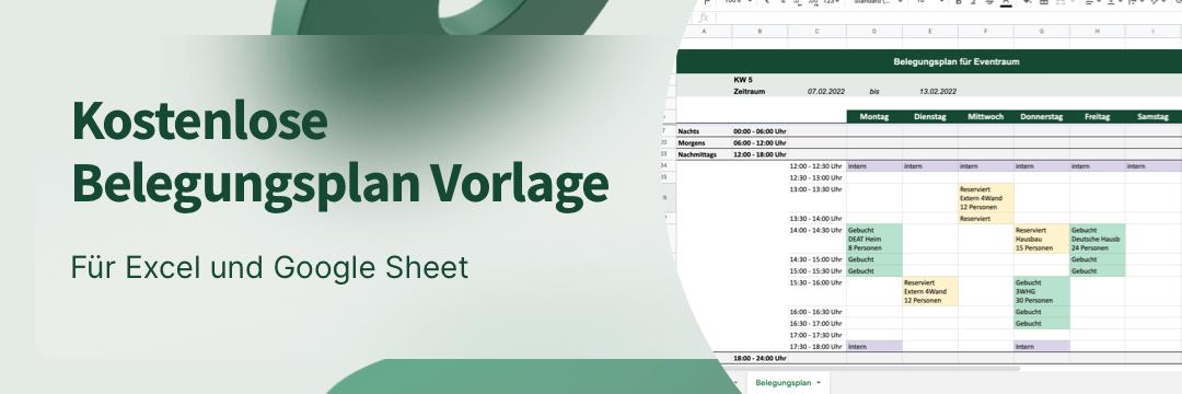 Excel Belegungsplan Vorlage (auch für Google Sheet) - Symbolische Darstellung