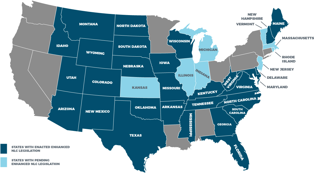 eNLC Compact State License Map