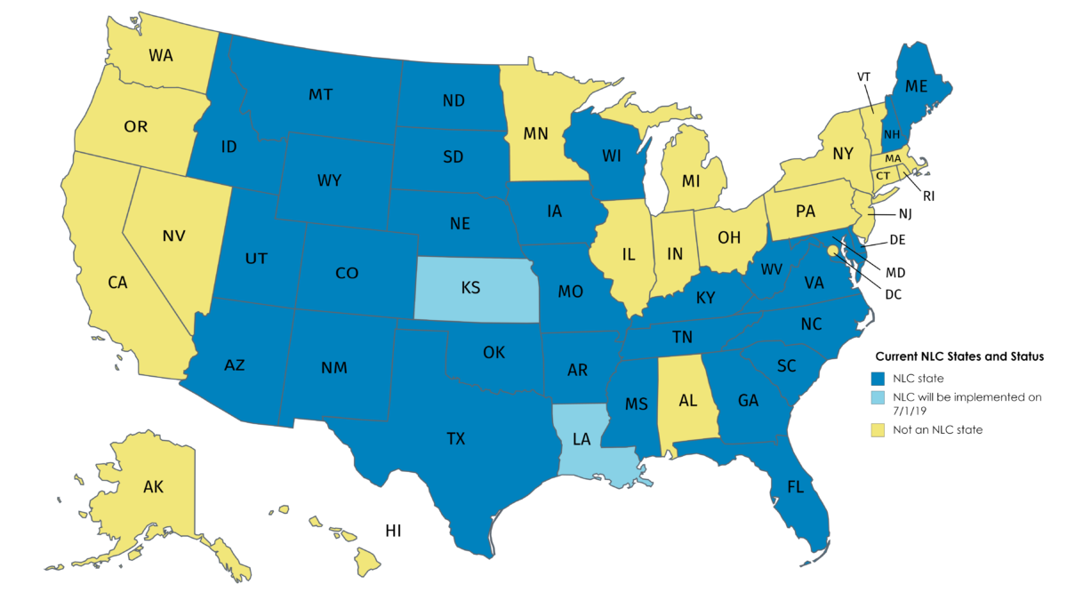 Nurse Compact State License Map