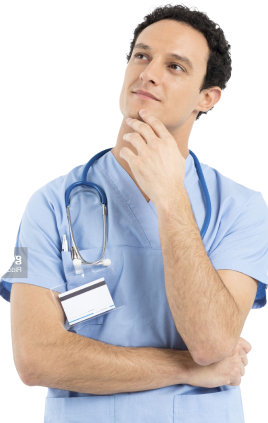 A doctor thinking with stethoscope on his neck