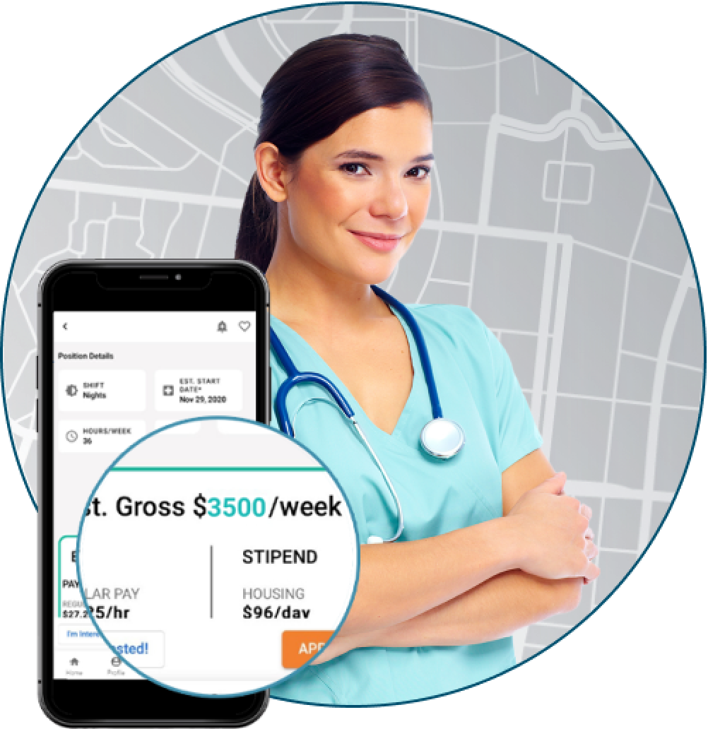 travel nurse with screenshot of wages