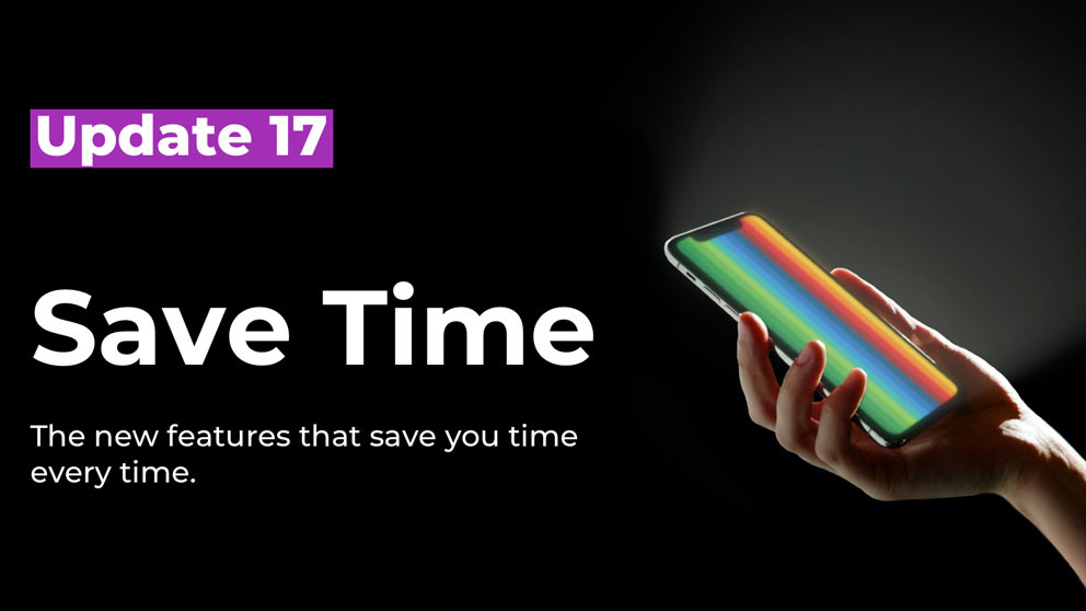 Save time banner with a hand holding a phone with rainbow screen