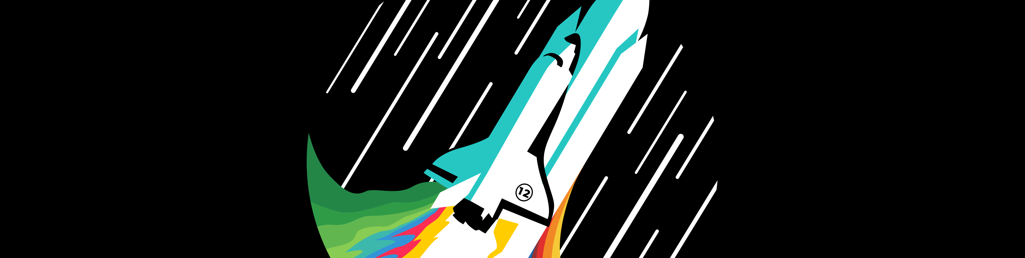 Illustration of a rocket going to space