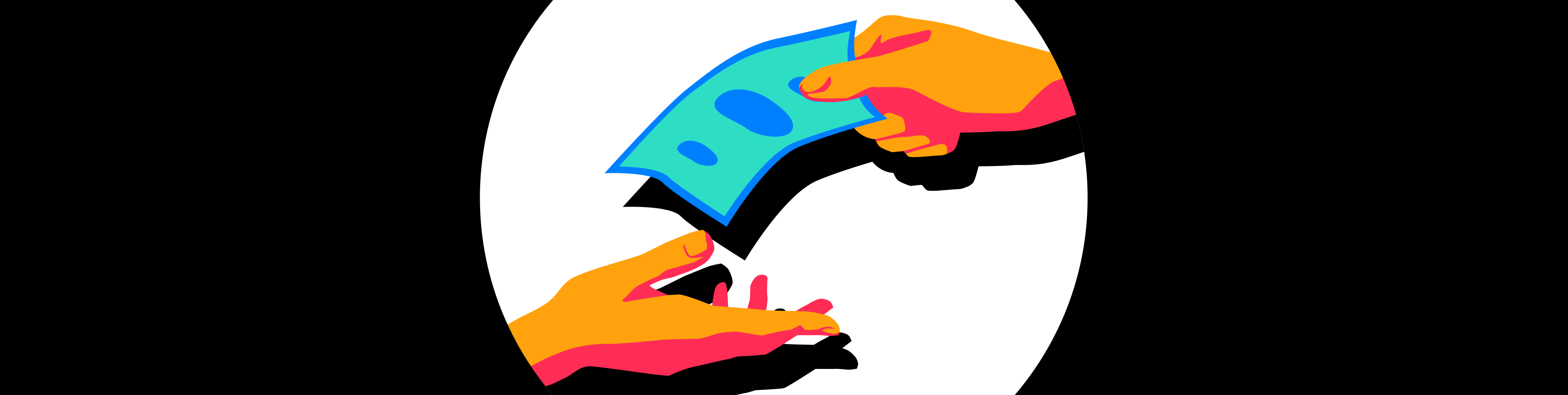 Illustration of a hand giving 1 dollar to another