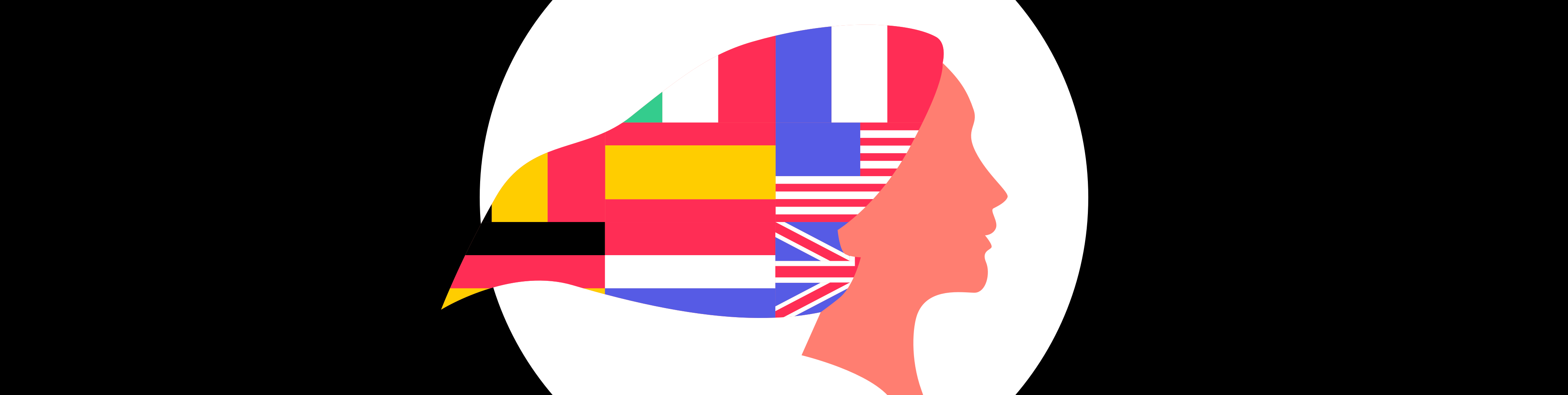 Illustrated head with flags for hair