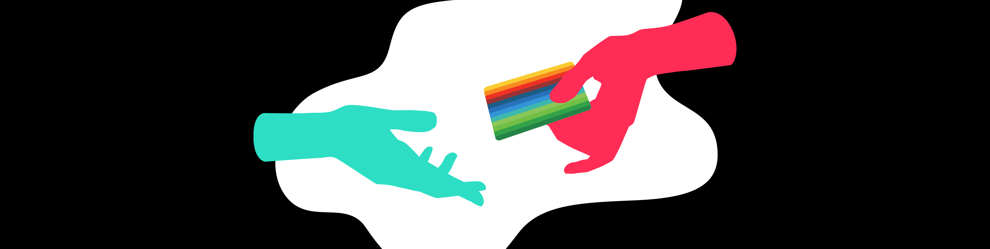 Illustrated hand giving a card to another