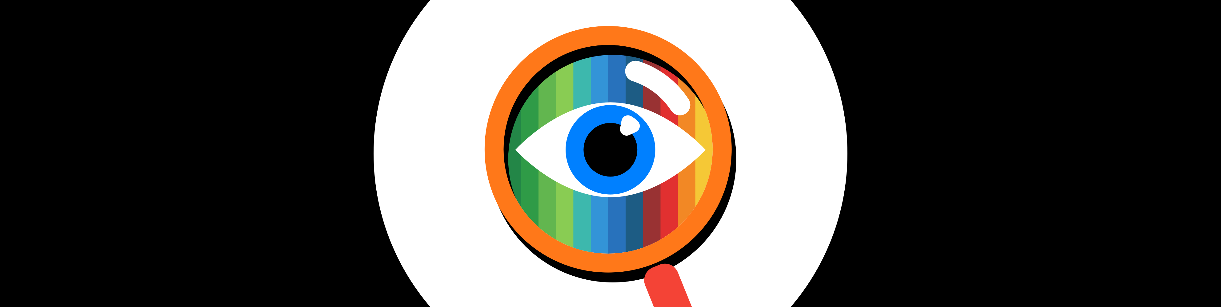 Illustrated magnifying glass over a rainbow eye