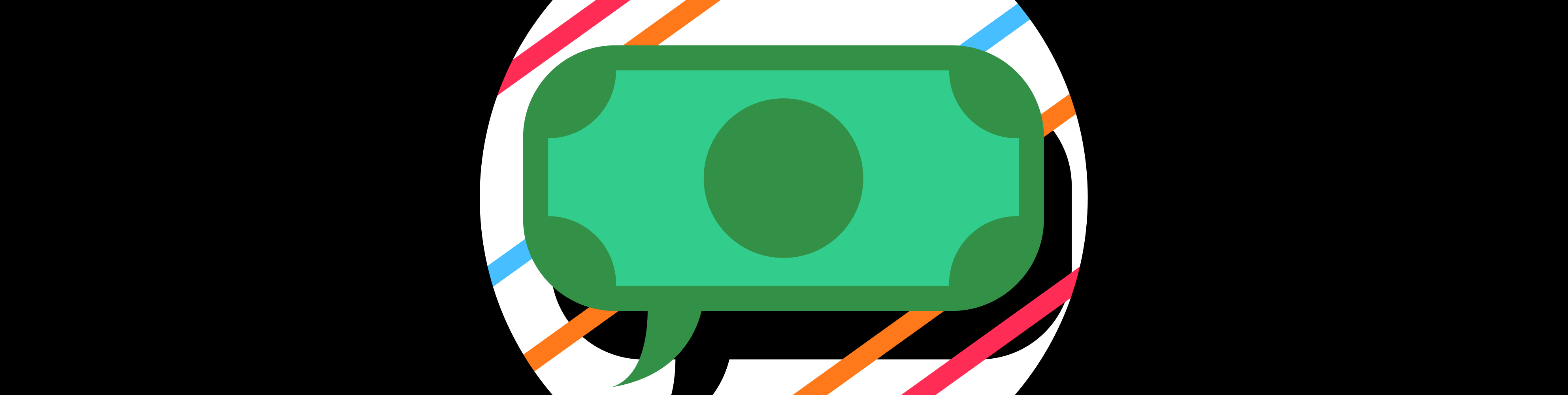 Illustrated chat bubble with a dollar