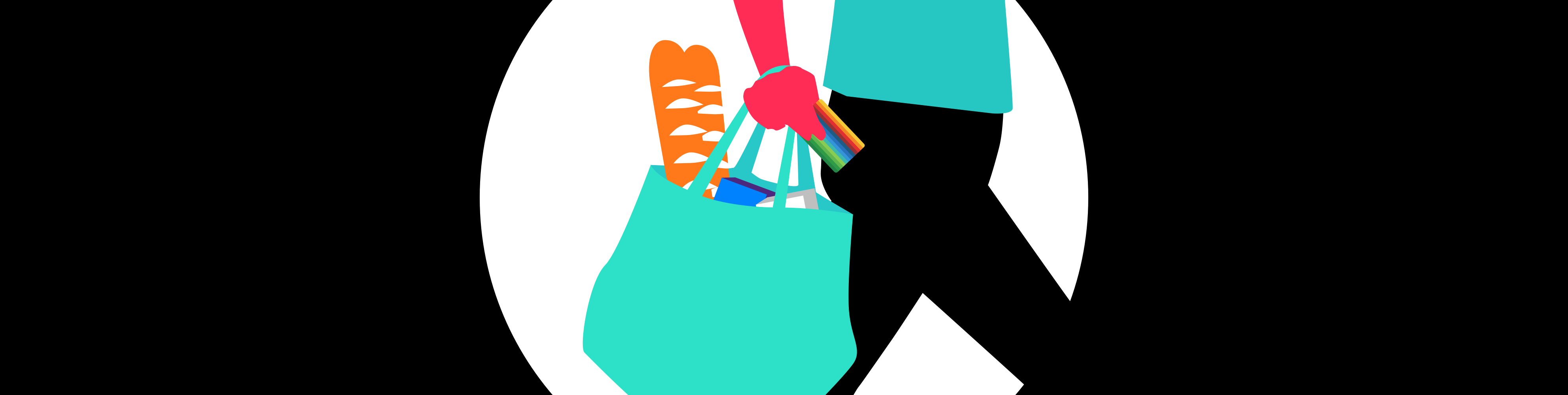 Illustrated guy with groceries and bunq card