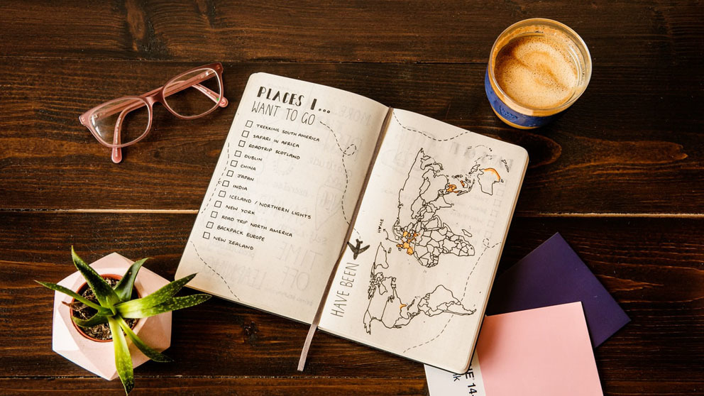 A bucket list for places to visit on top of a desk
