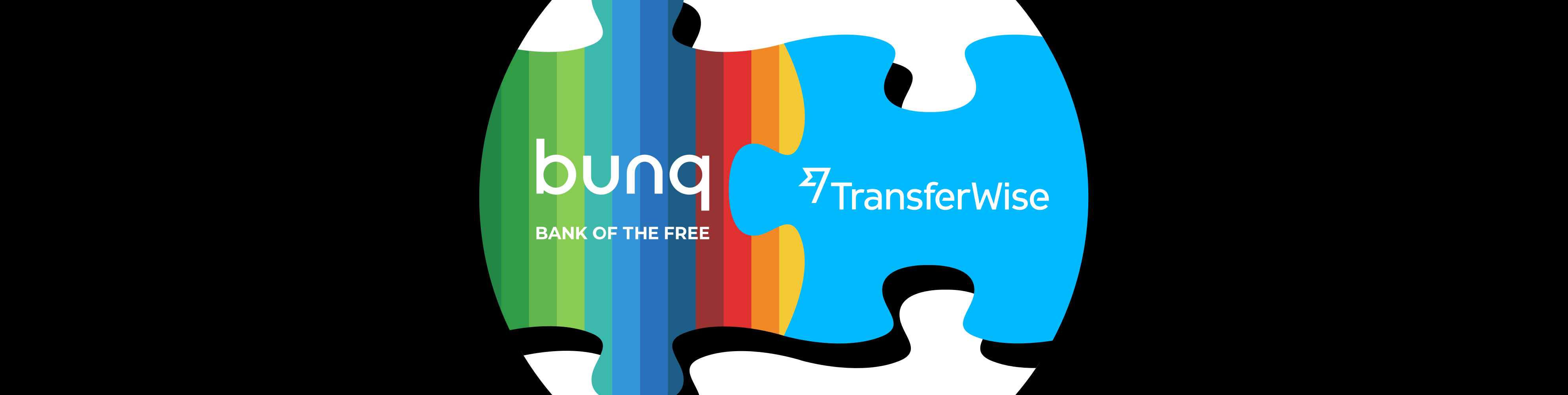 Illustrated puzzle with bunq piece and transferwise piece uniting.