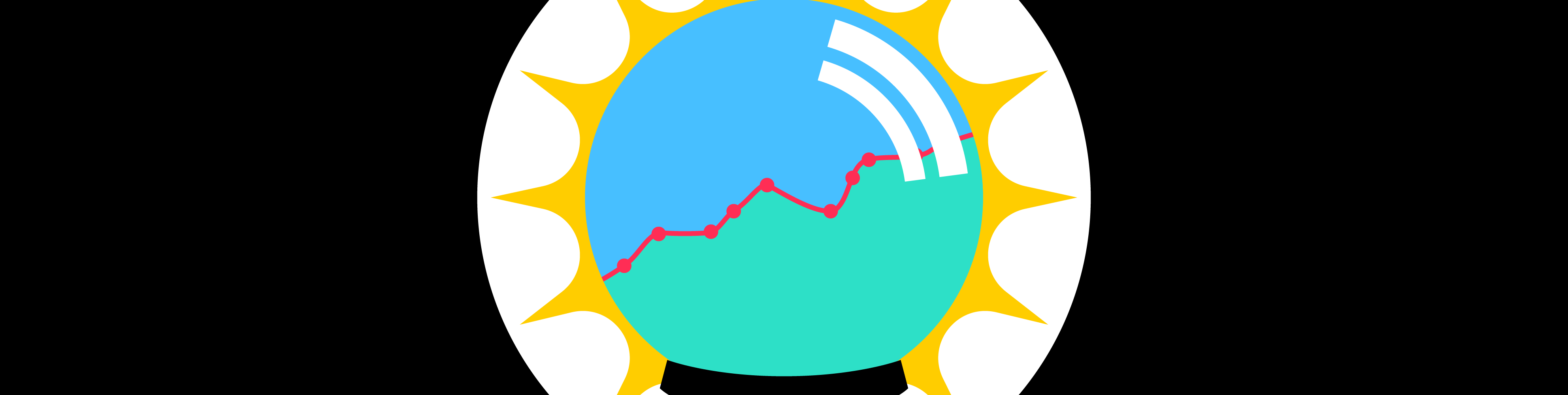 Illustrated future globe with graph going up
