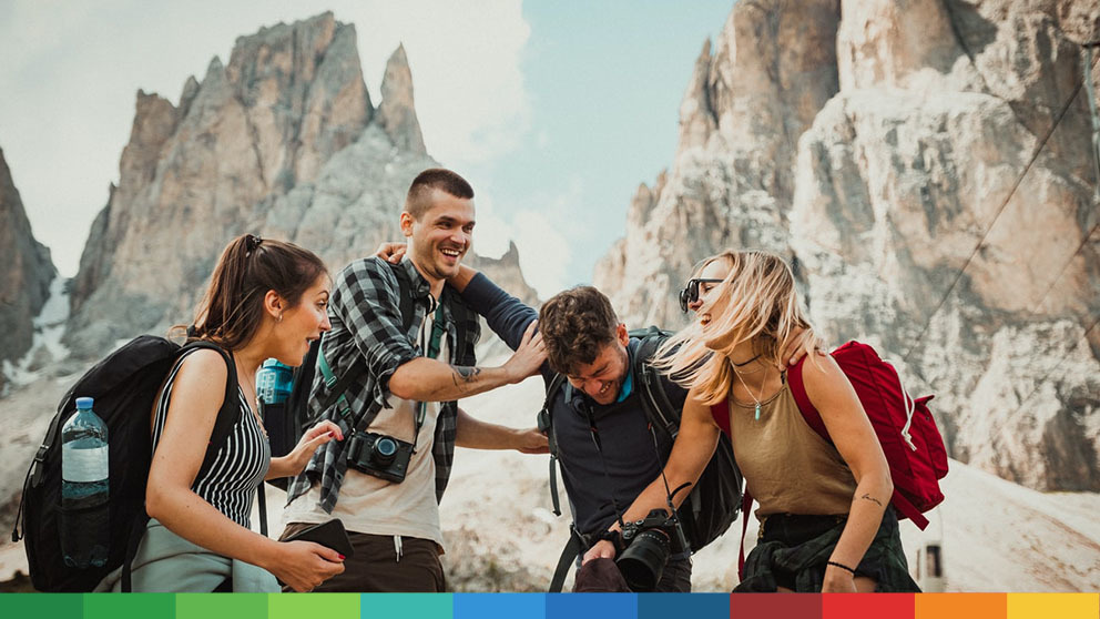 A group of hikers having a laugh