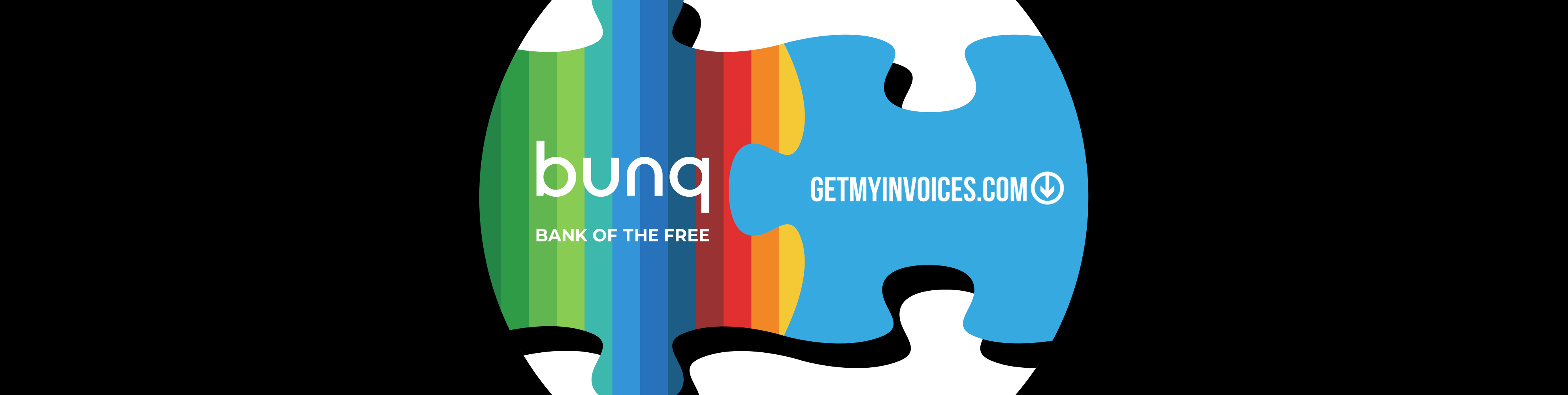 Pieces of puzzle, one with bunq logo one with getmyinvoices logo