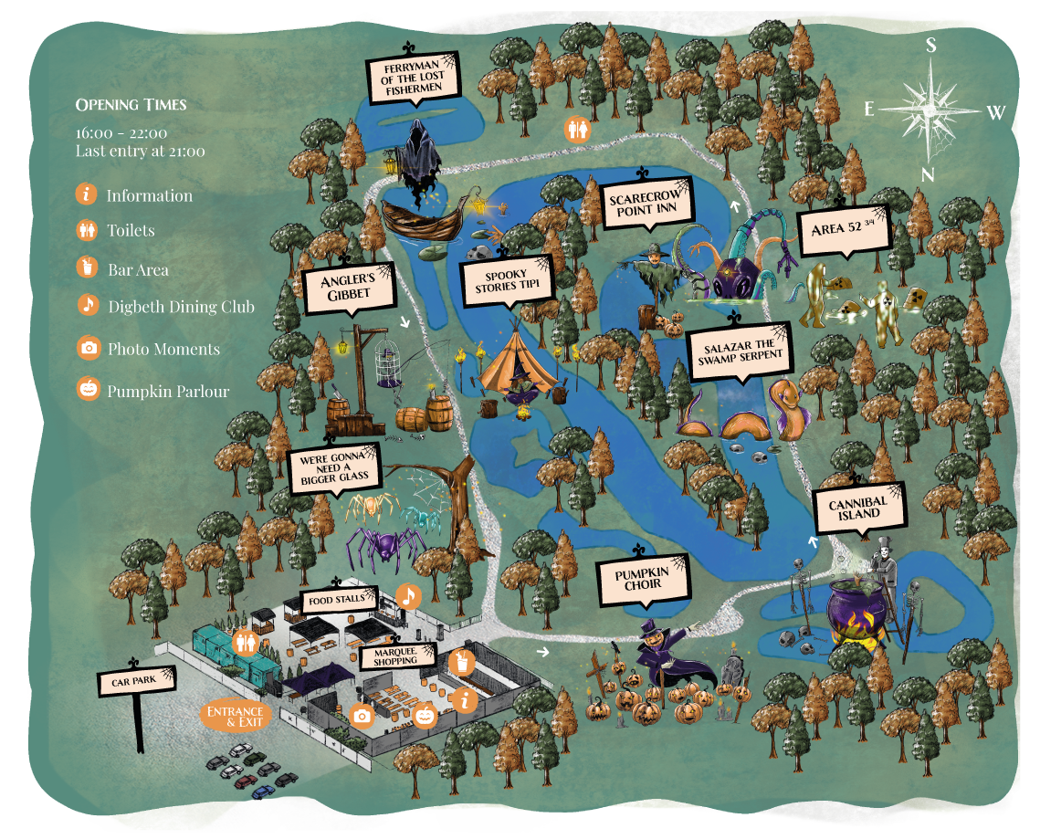 a map of the spooky swamp