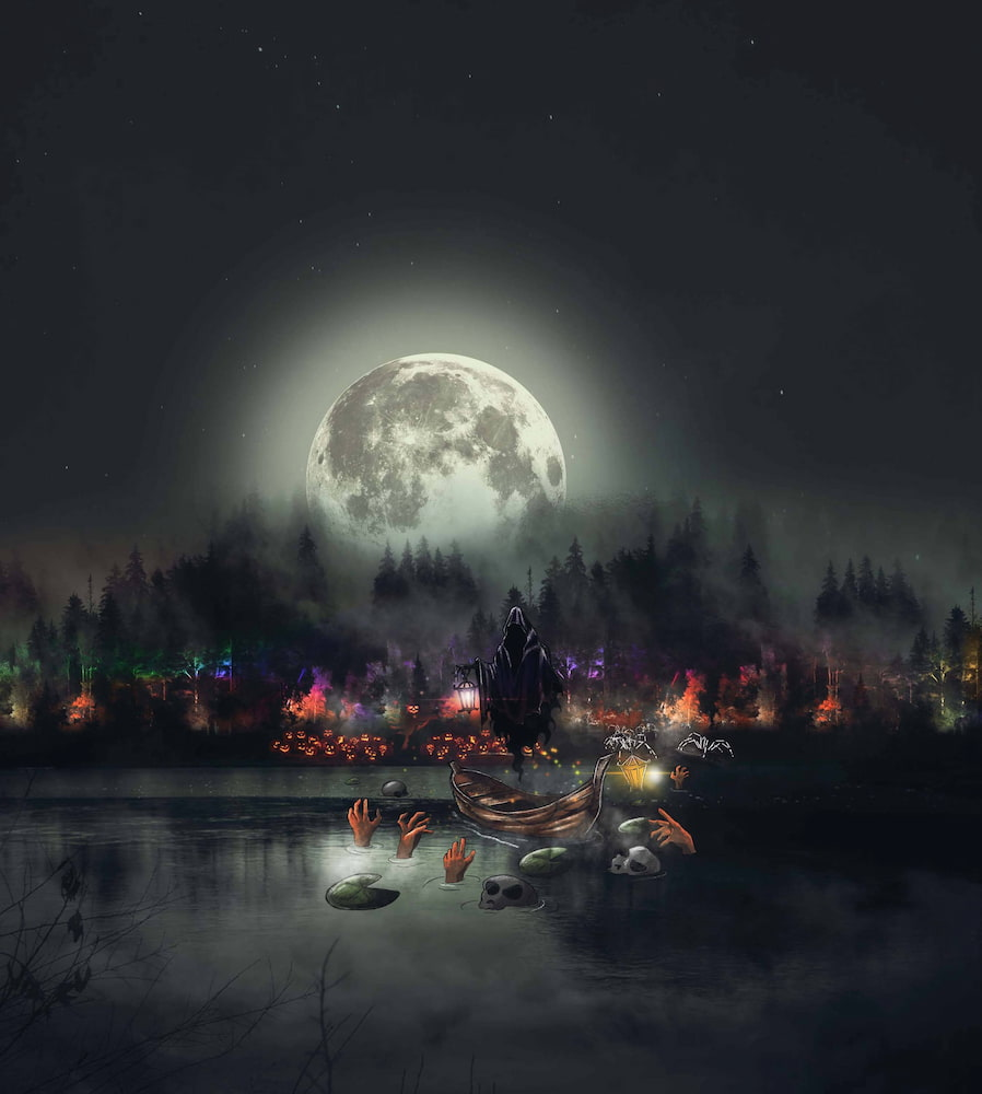 an spooky illustration of a lake with a ghost over it and the moon visible in the night sky