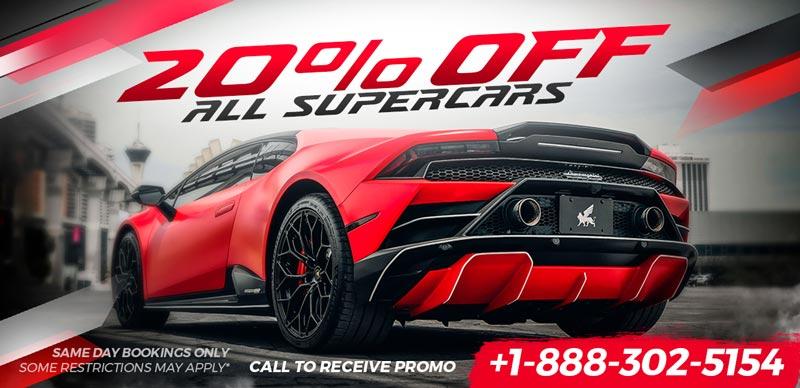 20% Off Same Day Supercar Rentals
