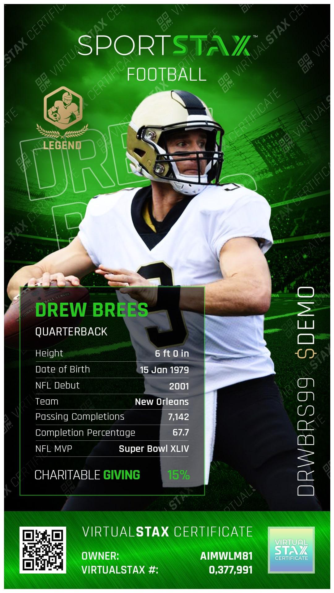 SX Trade Card Drew Brees